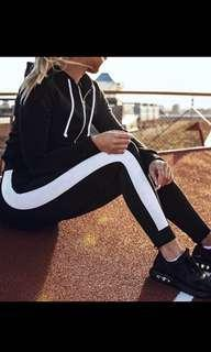 Big white stripe sports pants legging