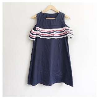 Nautical colors cold shoulder dress