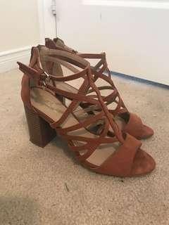 Strappy Brown Suede Heels