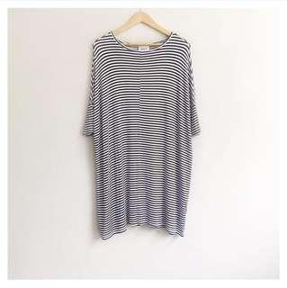 Monki oversized shirt dress stripes