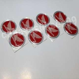 Sticker Timbul Motor Honda Merah List Silver Bulat 4.7cm Stiker Emblem Body Motor Plastik Resin Tebal Paket PROMOSI 4 Set 8pcs New Ready Stock