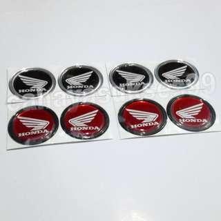Sticker MOTOR Emblem Timbul Honda Hitam List Silver Dan Merah List Hitam 4.7cm Stiker Bulat Plastic Resin Paket PROMOSI 4 Set Total 8pcs