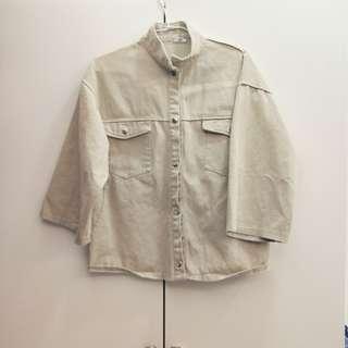 (有實穿)復古日系卡其色寬袖外套#古著