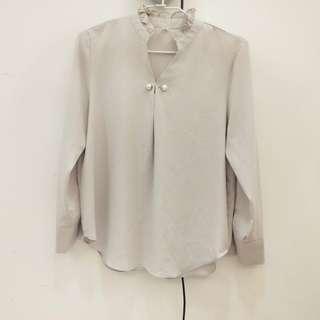 (有實穿)韓風杏色珍珠雪紡襯衫