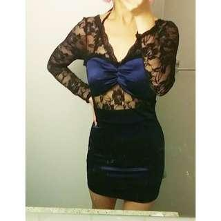Lace and Blue Satin Bodycon Dress