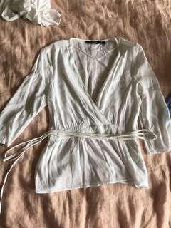 Glassons white wrap top size 10