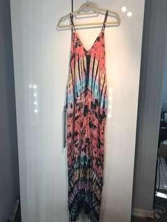 Tie-Dyed Maxi Dress with Pockets