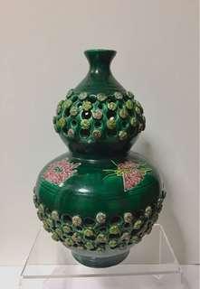 Unusual Chinese / Japanese Green Glazed Vase; 1930s/40s