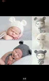 Newborn mouse hat prop in white