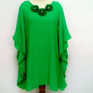 Atasan wanita~hijau bunga polos