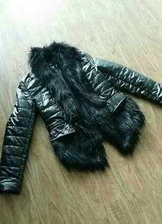 Faux Fur Faux Leather Jacket