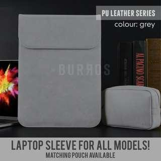 📣INSTOCKS📣 Grey PU Leather Laptop Sleeve Protector Case Apple Dell Asus HP Acer Lenovo