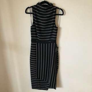 Cooper St High Neck Midi Striped Dress Size 6