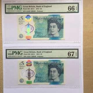 Great Britain 2015 5 Pounds AA Prefix with identical serial no 120248 PMG 66/67 EPQ  a rare graded pair of first polymer British Banknotes