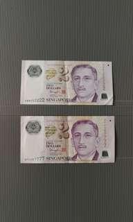 🇸🇬Singapore $2 special numbers currency note (1 pc)妙号纸钞币