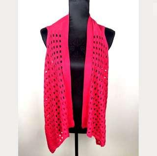 NWT Yarra Trail sz S pink see through dots women open vest knit throw RRP$89.95