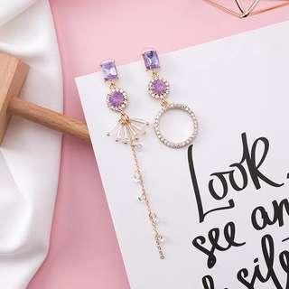 (Free pos 3 pairs & above) Korean design purple diamond crystal earrings