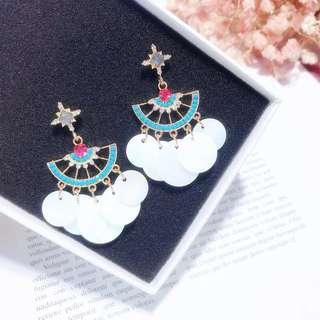 (Free pos 3 pairs & above) bohemian designs diamond with shell earrings