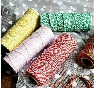 50米聖誕禮品包裝吊卡掛飾用彩色棉繩 糖盒彩色扎繩 雙色棉繩