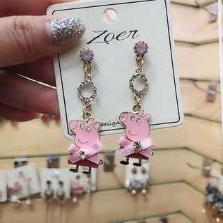 (Free pos 3 pairs & above) Korean design pink diamond pipet earrings