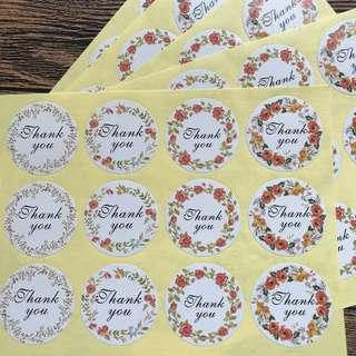 (Free Postage) 60 Thank You Stickers