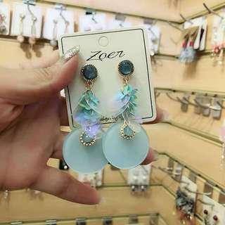 (Free pos 3 pairs & above) Korean design Tiffany blue earrings