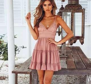 S - XL Pink Pleated Layer Dress