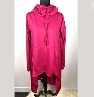 Pink Fuchsia sz S/M oversize turtle neck women top shirt jumper dress unique