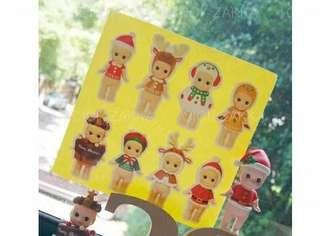 聖誕BB卡通公仔貼紙 禮品包裝封口貼 8枚
