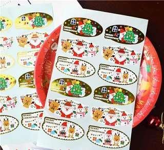 12枚 聖誕節燙金貼紙 可愛封口貼 禮品包裝貼紙