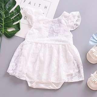 🚚 Instock - white lace romper, baby infant toddler girl