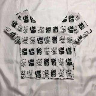 H&M Japanese Kansai Cats Scoop Neck Crop Top in Monochrome