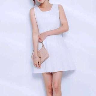 Mayuki Textured Fit & Flare Dress in White