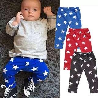 🚚 Instock - star pants, baby infant toddler girl boy