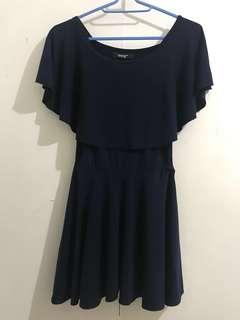 MEG SEXY DARK BLUE OFF SHOULDER DRESS