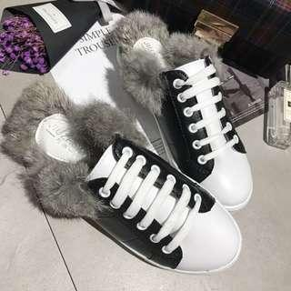 [Ready Stock] Soft Furry PU Leather Canvas Half Sandal Style Shoes