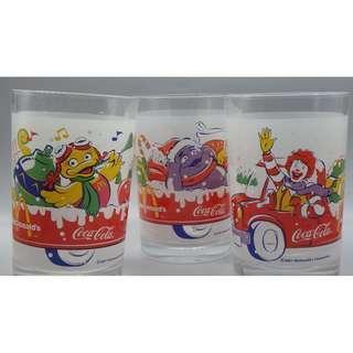 2001年 法國制 聖誕版 麥當勞 x Coca Cota 水杯 (3款)
