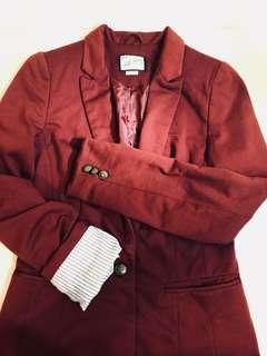 Pull & Bear Red Blazer with Striped Linings