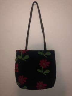 Vintage Black/Red/Green flower Shoukder Bag
