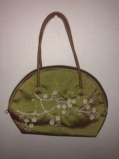 Vintage Green/Pink Shift Bag with Flower Detailing