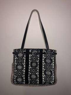 Vintage Black and white detailing bag