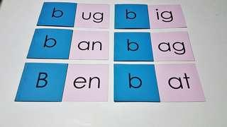 MONTESSORI DIY - PINK SCHEME PHONICS FLIP CARDS- UG/IG/AN/AG/EN/AT PATTERNS