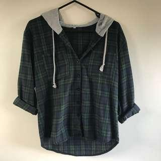 Flannel shirt with hoodie