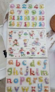 Brand New Wood Alphabet Numbers ABC Knob Puzzles