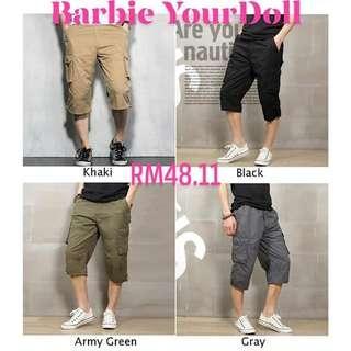 Men 3/4 Length Cargo Pants Shorts Loose