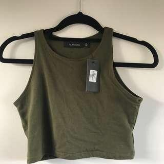 Green crop tank top