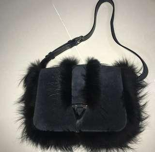 YSL suede with fur edge shoulder bag