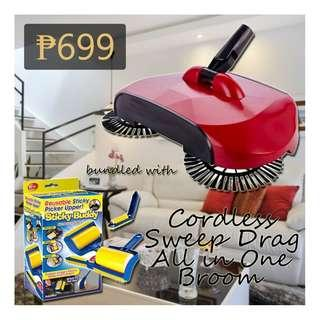Swivel Cordless Sweep Drag Sweeping All-in-one Broom Hand Push Spin Broom bundled with Sticky Buddy.