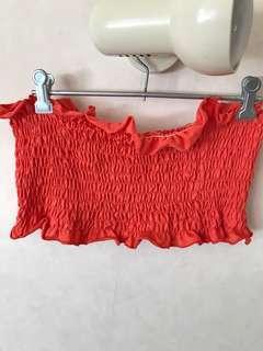 Shirred Orange/Coral Crop