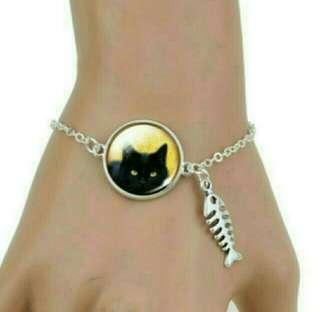 Bracelet - Black Cat + Fish Bone